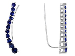 Blue Lab Created Spinel Rhodium Over Sterling Silver Climber Earrings 1.54ctw