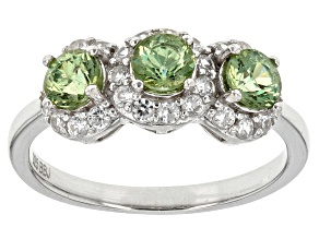 Green Demantoid Garnet Sterling Silver Ring 1.20ctw