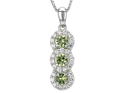 Green Demantoid Garnet Sterling Silver 3-Stone Pendant With Chain 1.20ctw