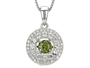 Green Dancing Demantoid Garnet Silver Pendant With Chain .96ctw