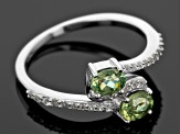 Green Demantoid Garnet Sterling Silver Ring .88ctw