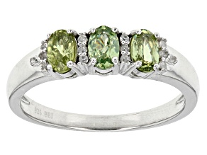 Green Demantoid Garnet Sterling Silver Ring .82ctw