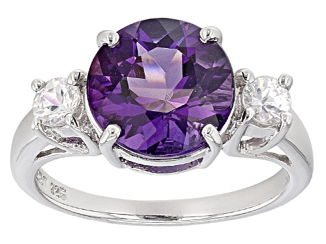 Purple Amethyst Sterling Silver Ring 2.91ctw