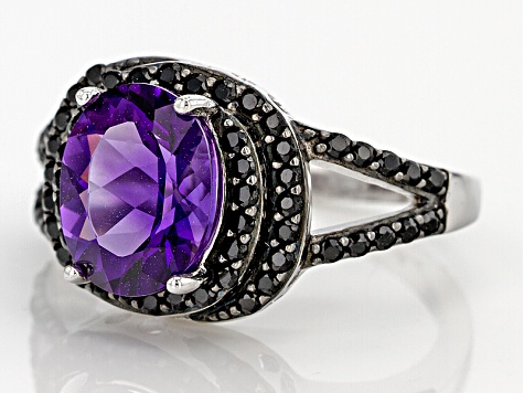 Purple African Amethyst Sterling Silver Ring 2.35ctw
