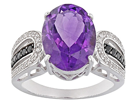 Purple Amethyst Sterling Silver Ring 4.59ctw
