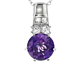 Purple Amethyst Sterling Silver Pendant With Chain 2.36ctw