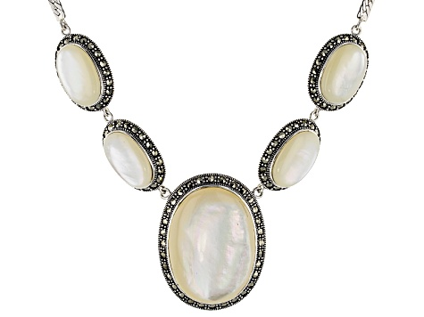 White Mother-Of-Pearl Sterling Silver Necklace