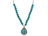 Blue Turquoise Sterling Silver Teardrop Necklace