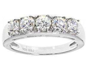 White Fabulite Strontium Titanate Rhodium Over Sterling Silver 5-Stone Ring 1.75ctw
