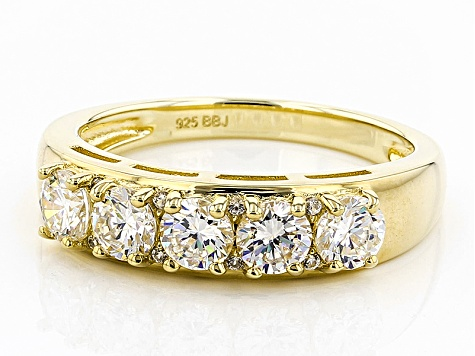 White Fabulite Strontium Titanate And White Zircon 18k Yellow Gold Over Silver Ring 1.82ctw