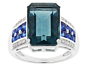 Teal Fluorite Sterling Silver Ring 9.40ctw