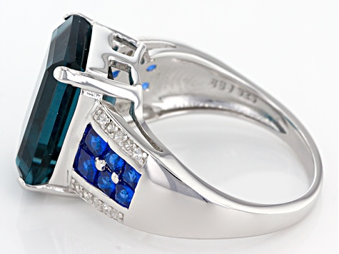 Blue Fluorite Sterling Silver Ring 9.40ctw