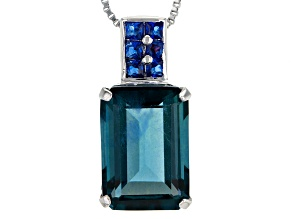 Blue Fluorite Sterling Silver Pendant With Chain 8.79ctw