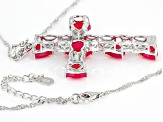 Pink Onyx Rhodium Over  Sterling Silver Cross Enhancer With Chain