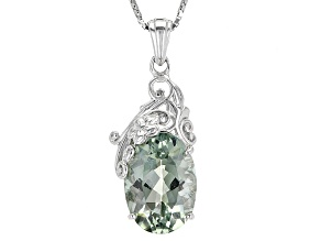 Green Prasiolite Sterling Silver Pendant With Chain 4.42ct