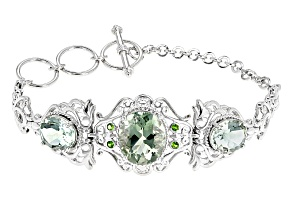 Green Prasiolite Rhodium Over Sterling Silver Bracelet 11.86ctw