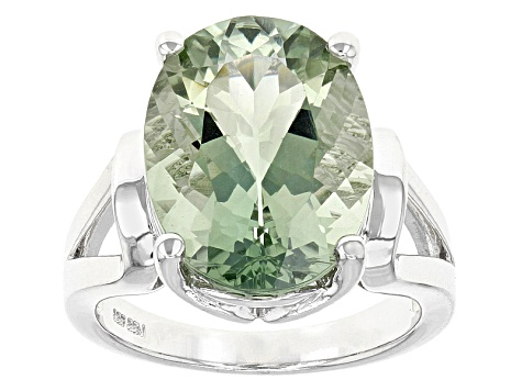 Green Prasiolite Sterling Silver Solitaire Ring 7.27ct