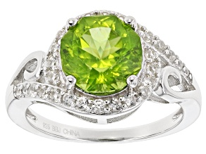Green Peridot Sterling Silver Ring 3.42ctw