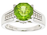 Green Peridot Sterling Silver Ring 3.03ctw