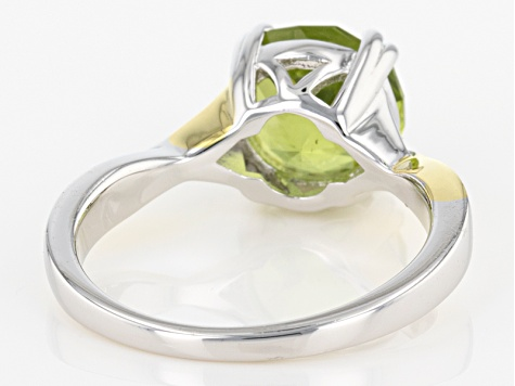 Green Peridot Two-Tone Sterling Silver Ring 2.80ct