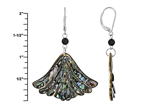 Multicolor Abalone Shell Rhodium Over Sterling Silver Dangle Earrings