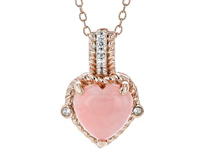 Pink Peruvian Opal Rose-Tone Silver Pendant With Chain .06ctw