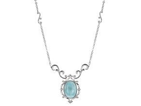 Blue Larimar Rhodium Over Sterling Silver Necklace .02ctw