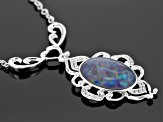Multicolor Coober Pedy Opal Triplet Sterling Silver Necklace .12ctw