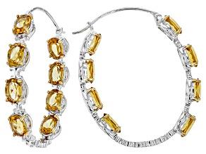 Yellow Citrine Sterling Silver Hoop Earrings 9.40ctw