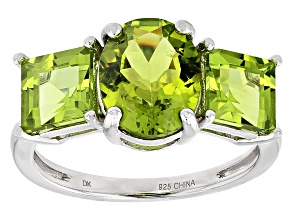 Green Peridot Sterling Silver 3-Stone Ring 4.68ctw