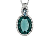 Blue Teal Fluorite Sterling Silver Pendant With Chain 10.14ctw