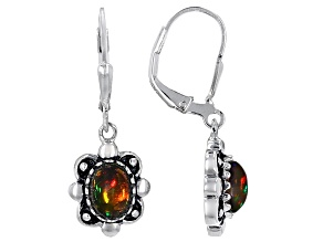 Black Ethiopian Opal Sterling Silver Solitaire Earrings .90ctw