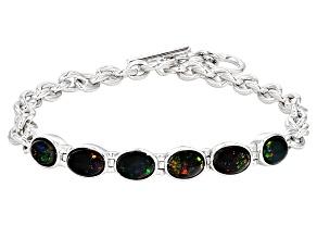 Black Opal Sterling Silver Bracelet 2.40ctw