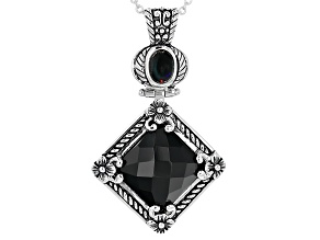 Black Onyx Sterling Silver Pendant With Chain .45ct