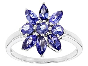 Purple Tanzanite Sterling Silver Floral Ring 1.03ctw