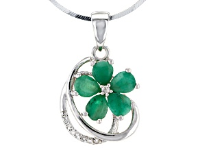 Green Emerald Sterling Silver Pendant With Chain 1.58ctw