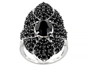 Black Spinel Sterling Silver Ring 4.08ctw