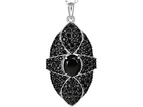 Black Spinel Sterling Silver Pendant With Chain 4.08ctw