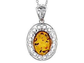 Orange Amber Sterling Silver Enhancer With Chain