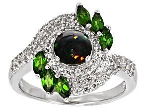 Black Ethiopian Opal Sterling Silver Ring 1.41ctw