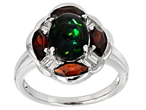 Black Ethiopian Opal Sterling Silver Ring 2.68ctw