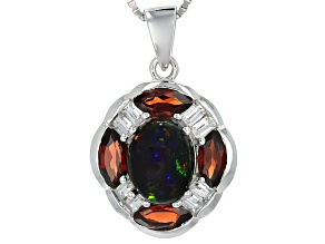 Black Ethiopian Opal Sterling Silver Pendant With Chain 2.68ctw