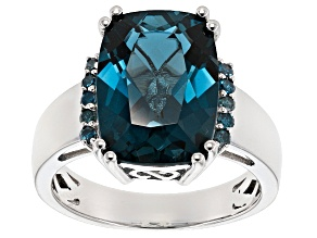 London Blue Topaz Sterling Silver Ring 7.09ctw