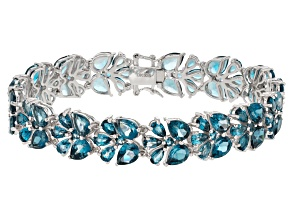 London Blue Topaz Sterling Silver Bracelet 33.45ctw