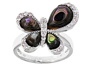 Multicolor Abalone Shell Sterling Silver Butterfly Ring .29ctw