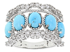 Blue Sleeping Beauty Turquoise Rhodium Over Sterling Silver Ring 1.45ctw