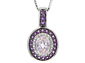 Pink Kunzite Sterling Silver Pendant With Chain 2.12ctw