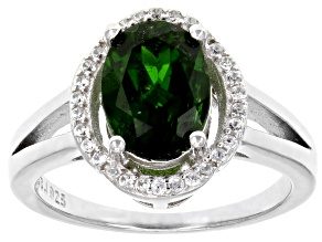 Green Chrome Diopside Sterling Silver Ring 2.11ctw