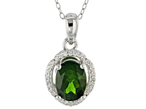 Green Chrome Diopside Sterling Silver Pendant With Chain 2.11ctw