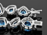 Blue Lab Created Spinel Sterling Silver Bracelet 23.31ctw